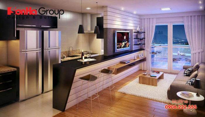 Xu hướng thiết kế nội thất phòng bếp ăn đẹp tiện nghi cho chung cư có diện tích sử dụng 14m2 khoa học