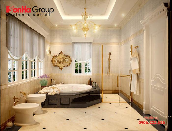 Ý tưởng thiết kế phòng vệ sinh kết hợp phòng tắm với nội thất cao cấp kiểu cổ điển Pháp