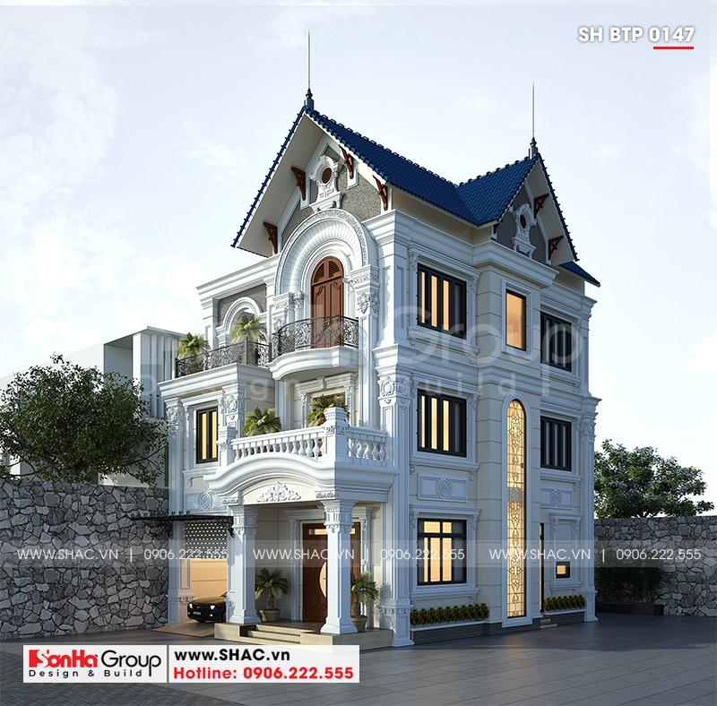 Mẫu nhà biệt thự tân cổ điển 3 tầng mái thái tại Ninh Bình – SH BTP 0147 1
