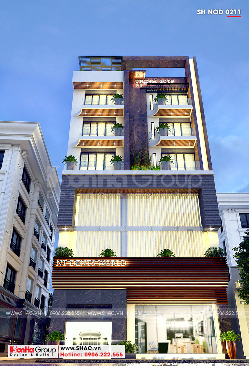 Mẫu nhà ống 6 tầng kiểu hiện đại kết hợp kinh doanh 12,32m x 10,16m tại Hà Nội  - SH NOD 0211 2