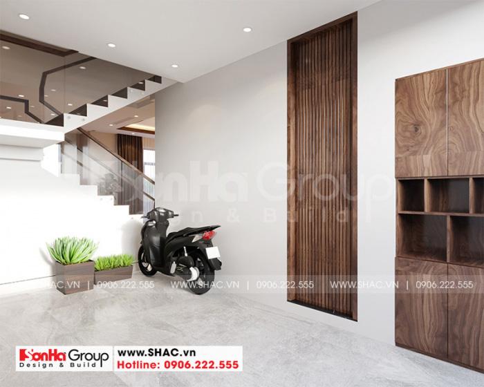 Thiết kế nội thất gara ôtô rộng rãi, thoáng đãng dành cho biệt thự tân cổ điển tại Hải Phòng