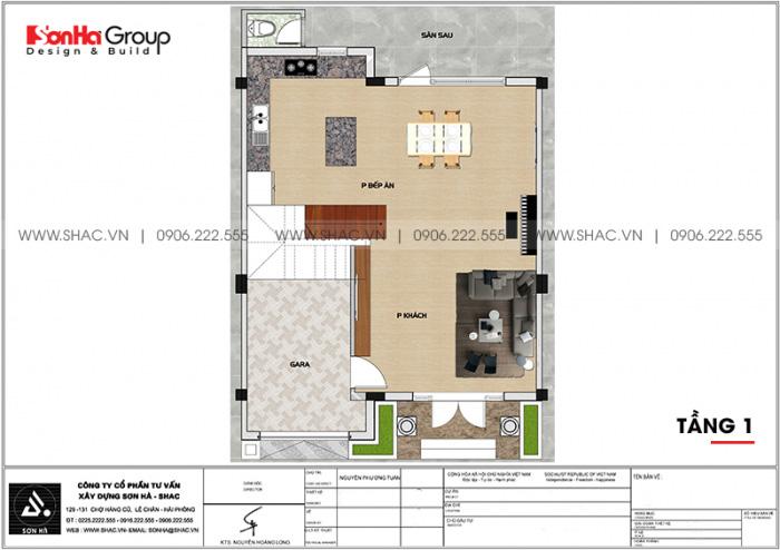 Mặt bằng công năng tầng 1 biệt thự tân cổ điển 3 tầng diện tích 80,8m2 tại Hải Phòng