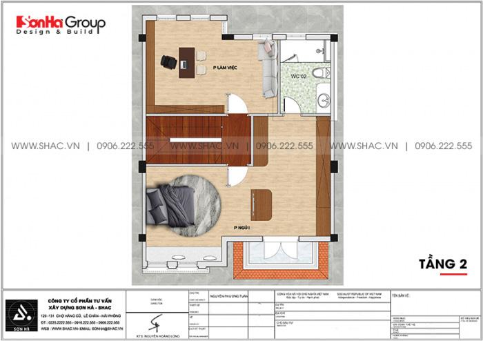 Mặt bằng công năng tầng 2 biệt thự tân cổ điển 3 tầng diện tích 80,8m2 tại Hải Phòng