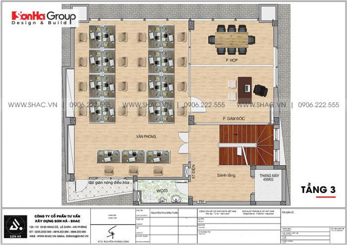 Mặt bằng công năng tầng 3 nhà ống hiện đại 6 tầng diện tích sàn 125,17m2 tại Hà Nội