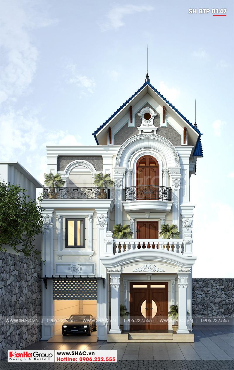 Phối cảnh kiến trúc biệt thự 3 tầng mang vẻ đẹp tân cổ điển sang trọng và tinh tế tại Ninh Bình