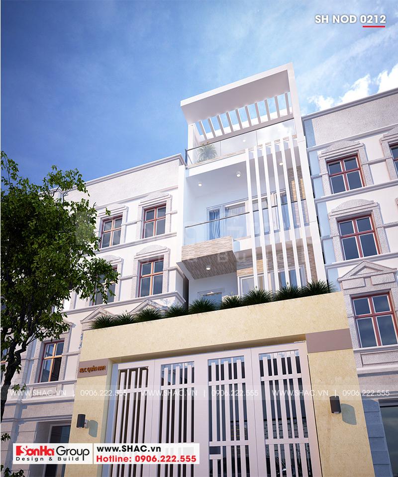 Cận cảnh kiến trúc hiện đại, tinh tế được khéo léo thể hiện trên mặt tiền ngôi nhà ống 4 tầng