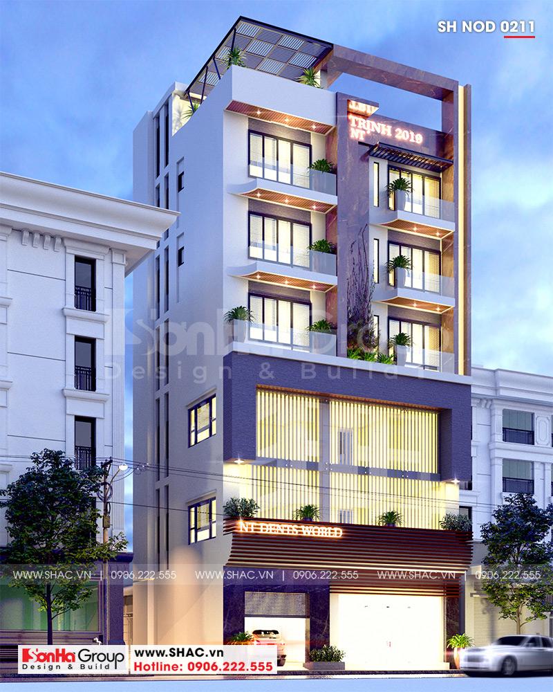 Mẫu nhà ống 6 tầng kiểu hiện đại kết hợp kinh doanh 12,32m x 10,16m tại Hà Nội  - SH NOD 0211 3
