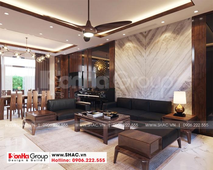 Trang trí nội thất phòng khách kiểu tân cổ điển sang trọng được gia chủ đánh giá cao