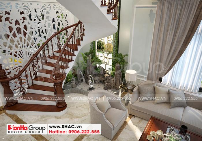 Mẫu phòng khách đẹp phong cách tân cổ điển cho biệt thự 3 tầng