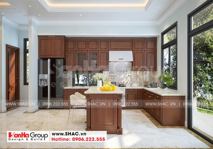 Không gian nội thất phòng bếp sử dụng chất liệu gỗ tự nhiên cao cấp