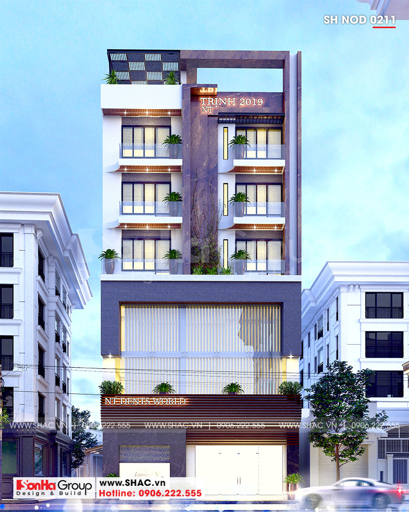 Mẫu nhà ống 6 tầng kiểu hiện đại kết hợp kinh doanh 12,32m x 10,16m tại Hà Nội  - SH NOD 0211 1