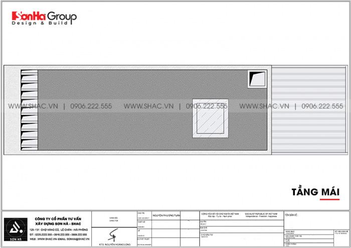 Bản vẽ công năng tầng mái nhà ống hiện đại mặt tiền 4m4 dài 20,8m tại Hải Phòng