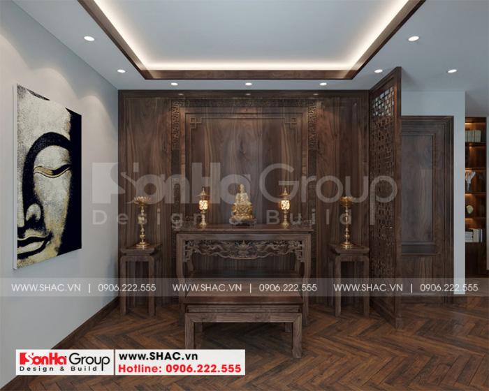 Nội thất phòng thờ tôn nghiêm và trang trọng tại tầng 3 của biệt thự tân cổ điển cao cấp