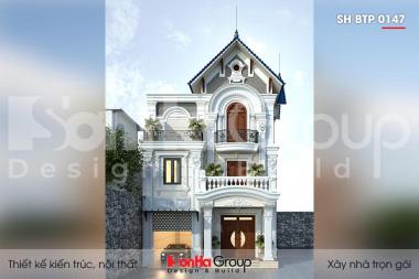 BÌA thiết kế biệt thự 3 tầng mặt tiền12m kiểu tân cổ điển tại ninh bình sh btp 0147