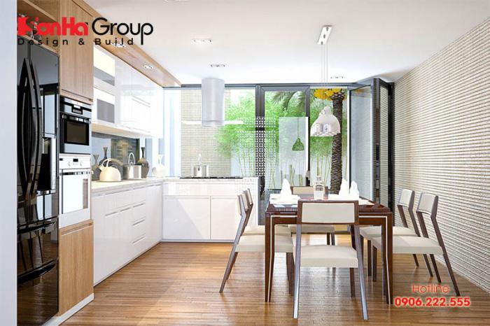 Căn phòng bếp đẹp 12m2 hiện đại với kiểu dáng đơn giản, đa năng và tiết kiệm diện tích sử dụng được chủ nhân hài lòng cao