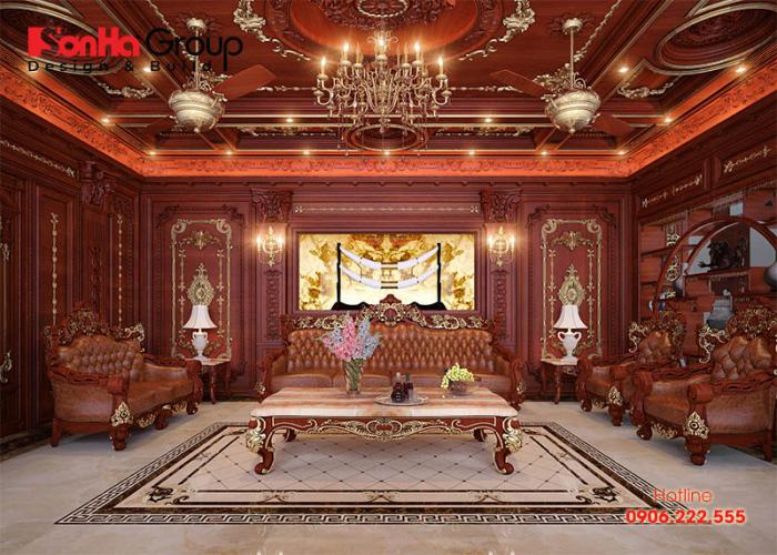 Căn phòng khách biệt thự được trang hoàng bằng vật liệu gỗ tự nhiên cao cấp sang trọng thể hiện gu thẩm mỹ tinh tế của gia chủ