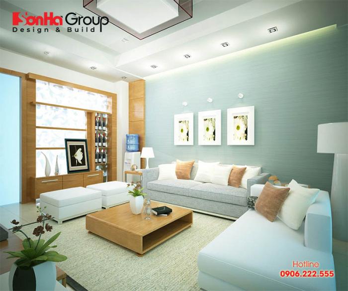 Căn phòng khách diện tích 20m2 này được KTS Sơn Hà thiết kế nội thất phòng khách với màu sắc nhấn nhá tinh tế, giản đơn mà hợp phong thủy nhất