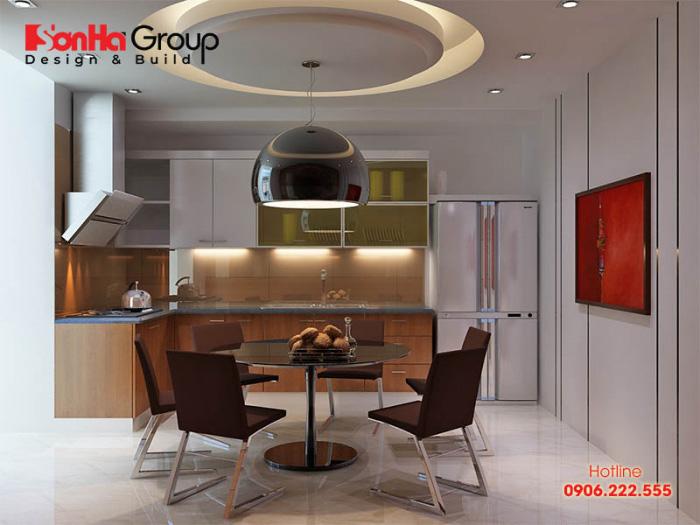 Giải pháp bố trí nội thất phòng bếp ăn hiện đại gịn gàng,ngăn nắp trên diện tích nhỏ chỉ 12m2