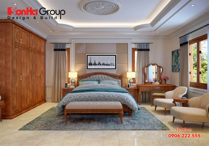 Giải pháp thiết kế nội thất phòng ngủ 15m2 đẹp, tiện nghi với màu sắc trầm ấm của phong cách tân cổ điển đang được ưa chuộng