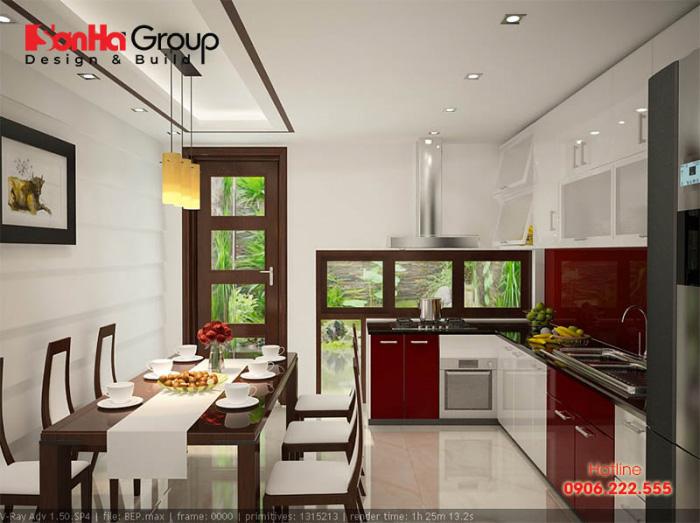 Không gian phòng bếp đẹp và tiện nghi với vật liệu gỗ được bố trí vật dụng ngăn nắp, diện tích nhỏ 12m2 khoa học nhất