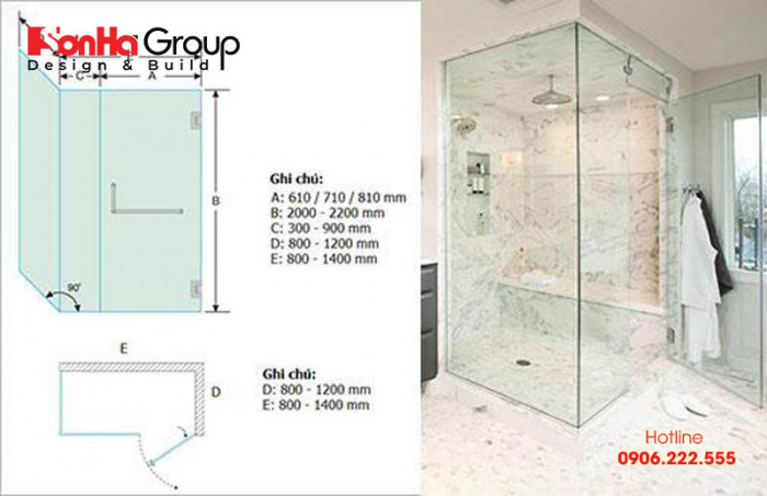 Kích thước phòng tắm kính chuẩn dao động khoảng 1800 – 2200mm tùy vào không gian và vị trí thi công