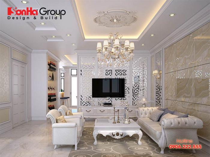 Mẫu phòng khách cổ điển sang trọng, có tone màu hợp phong thủy với sở thích chủ nhân đề ra