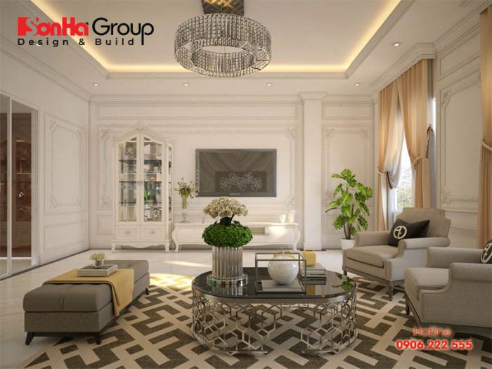 Mẫu phòng khách đẹp phong cách tân cổ điển sang trọng nhẹ nhàng và ấm cúng cho nhà phố được chủ nhân yêu thích nhất