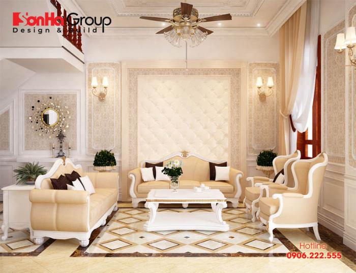 Mẫu phòng khách tân cổ điển sang trọng, có tone màu hợp phong thủy với sở thích chủ nhân đề ra