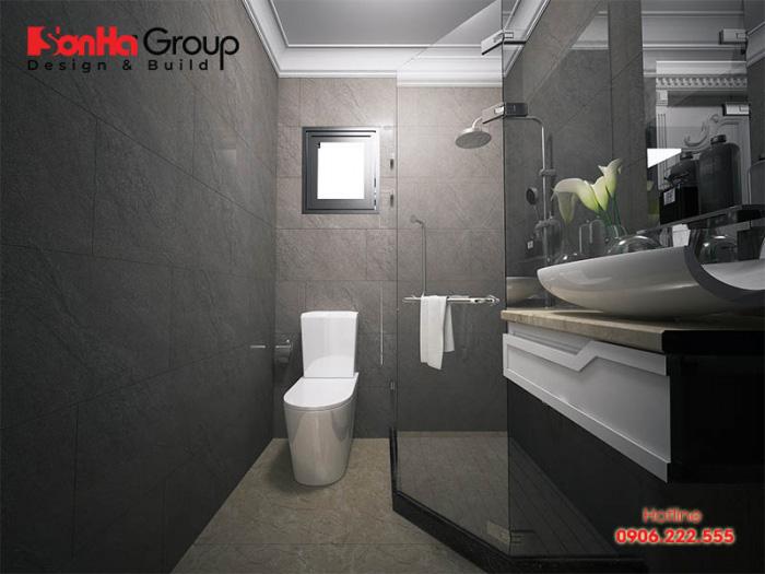 Mẫu phòng toilet diện tích nhỏ sử dụng vật liệu thi công cao cấp nhất hiện nay