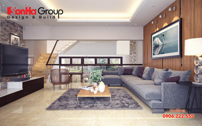 Màu sắc tinh tế làm nên điểm nhấn của không gian nội thất phòng khách 25m2 phong cách hiện đại