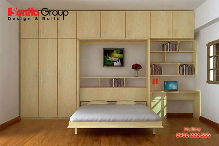 Mẫu thiết kế nội thất phòng ngủ đẹp cho nhà chung cư có diện tích sử dụng 7m2 nhỏ xinh