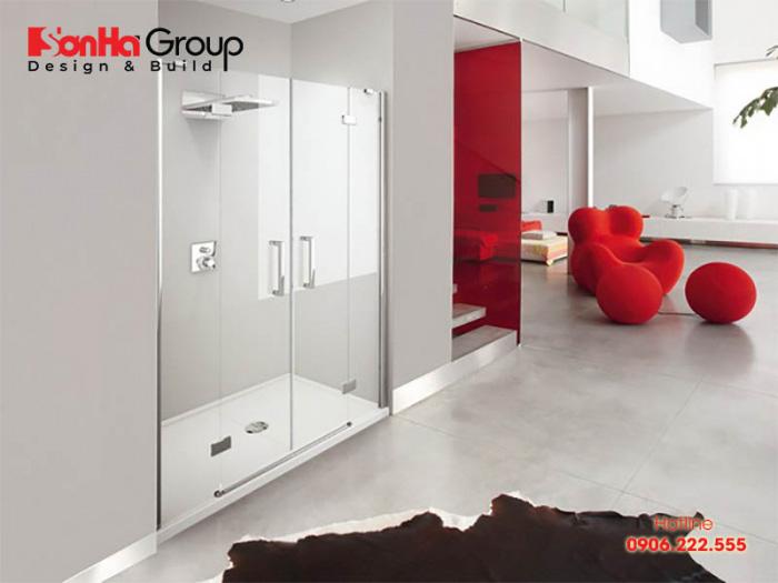 Mẫu thiết kế phòng tắm đứng hiện đại, tiện nghi - Mẫu 4