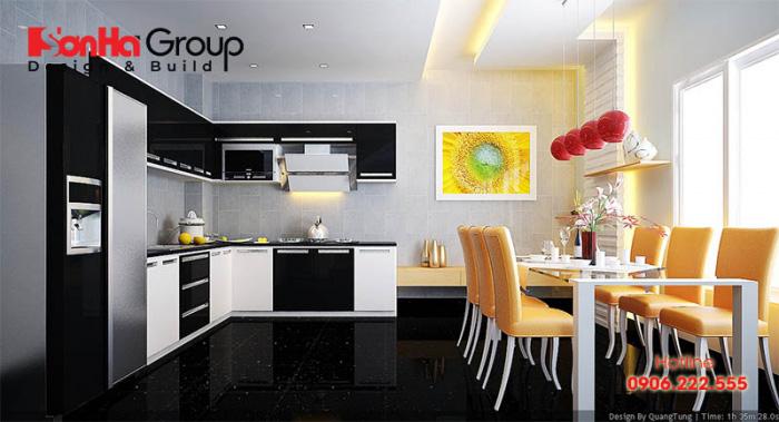 Phong cách thiết kế nội thất phòng bếp ăn hiện đại đẹp và tiện nghi trên diện tích sàn 12m2 được chị em ưa chuộng hiện nay