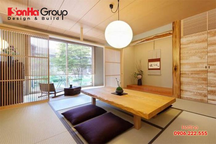 Phòng khách kiểu Nhật Bản Hhội thất nhưng vẫn đảm bảo về sự tiện nghi và sự tinh tế
