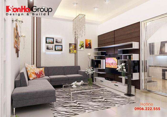 Phòng khách sở hữu diện tích 15m2 đẹp, thoáng đãng với kiểu bàn ghế sofa bố trí gọn gàng là tiêu chí mà nhiều Khách hàng hướng đến hiện nay