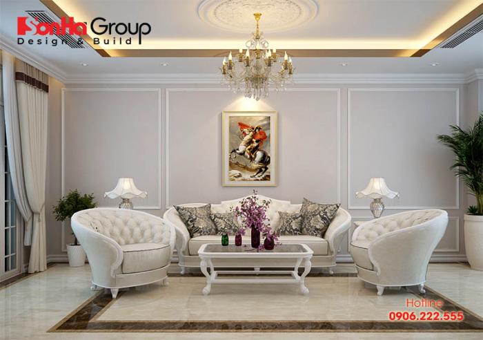 Phòng khách tân cổ điển đẹp, thoáng đãng với kiểu bàn ghế sofa bố trí gọn gàng là tiêu chí mà nhiều Khách hàng hướng đến hiện nay