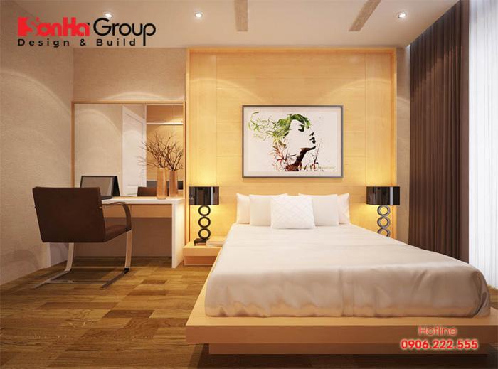 Phòng ngủ 12m2 thoáng đãng với cách bố trí đẹp mắt, chuẩn phong thủy