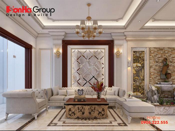 Phương án thiết kế phòng khách nhà ống đẹp phong cách cổ điển Pháp sang trọng