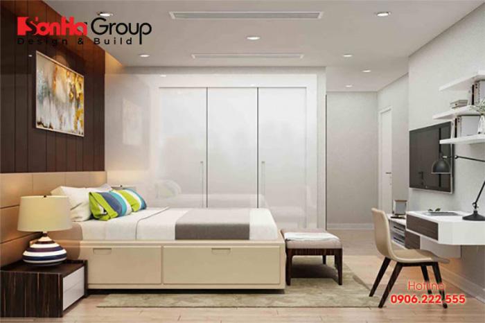 Tận dụng tối đa các công năng của tủ quần áo là cách thiết kế phòng ngủ nhỏ 7m2