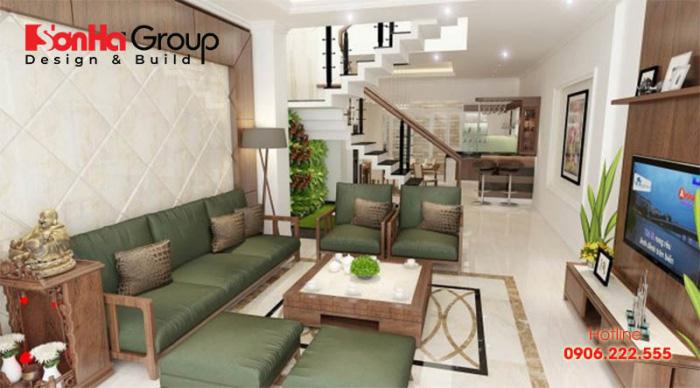 Thiết kế không gian mở sẽ giúp cho phòng khách nhà ống 5m giảm đi cảm giác chật chội