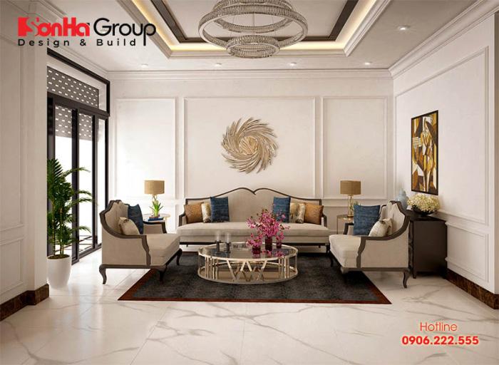 Thiết kế nội thất phòng khách đẹp nhẹ nhàng mang hơi hướng tân cổ điển dành cho nhà ống