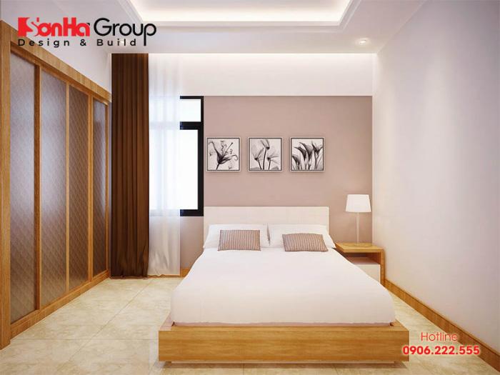 Thiết kế nội thất phòng ngủ đơn giản với kiểu dáng gọn gàng, màu sắc trung tính hợp phong thủy theo chủ nhân đề ra
