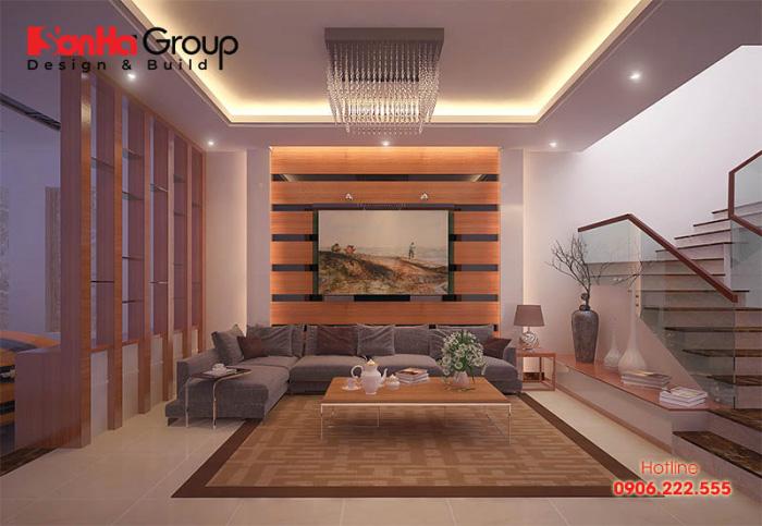 Ý tưởng thiết kế phòng khách phong cách hiện đại với gam màu cá tính được chủ đầu tư hết sức mãn nguyện với phương châm thực hiện hoàn hảo này