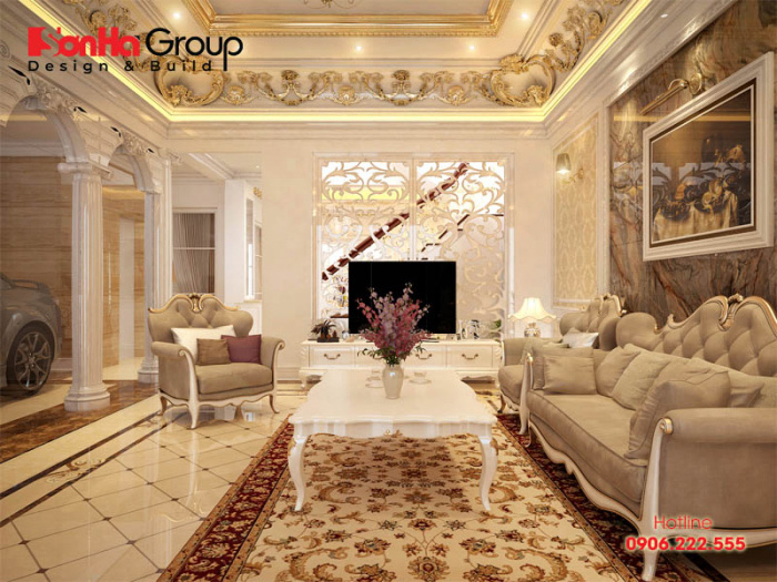 Ý tưởng thiết kế phòng khách phong cách tân cổ điển với gam màu cá tính được chủ đầu tư hết sức mãn nguyện v