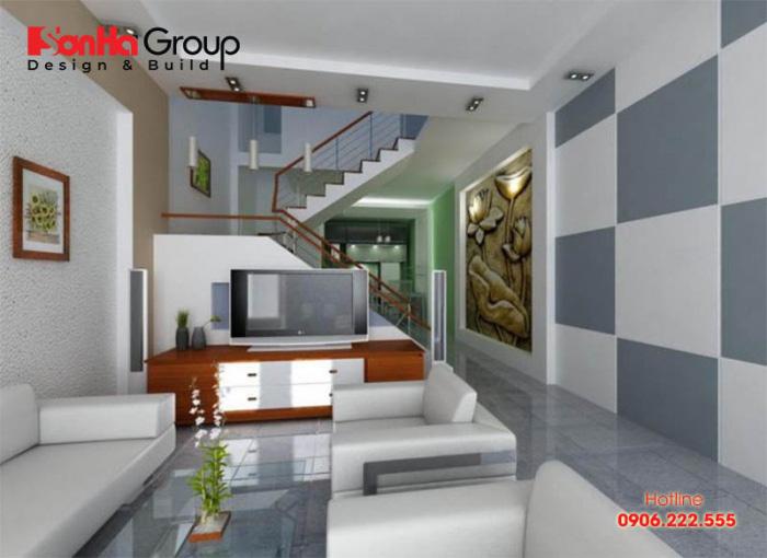 Yếu tố cân bằng và hài hòa trong tổng thể luôn cần đề cao khi lên phương án thiết kế phòng khách cho nhà ống 5m