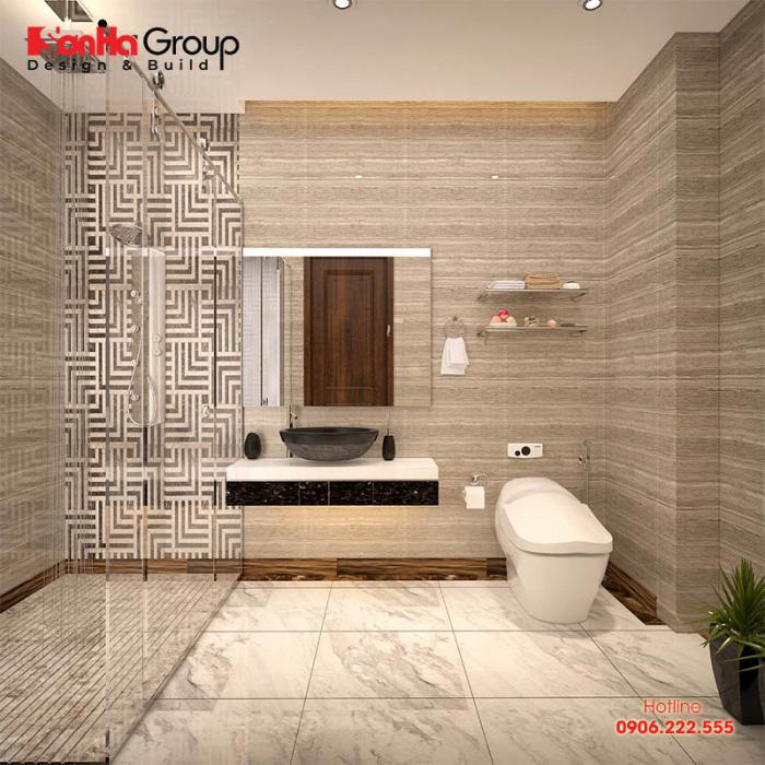 Yếu tố ngăn nắp, gọn gàng là tiêu chí sắp xếp nội thất phòng tắm, toilet đẹp cho ngôi nhà ống hiện đại này