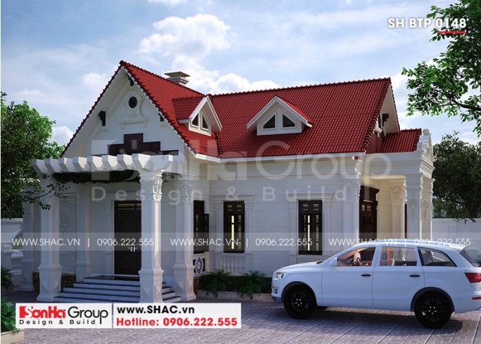 Mẫu biệt thự đẹp 1 tầng kiến trúc tân cổ điển diện tích 130m2 tại Hải Phòng