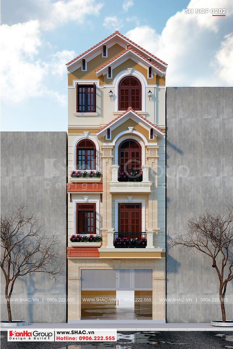Mẫu nhà ống đẹp kiến trúc tân cổ điển 4 tầng mặt tiền 5m tại Hải Phòng – SH NOP 0202 1