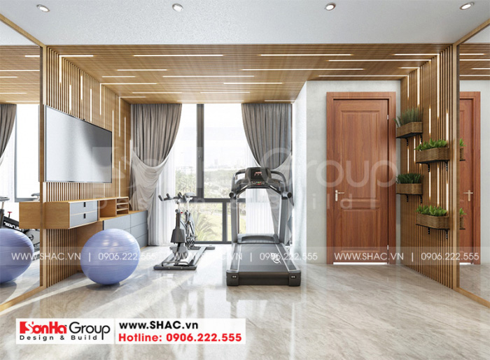 Mẫu thiết kế nội thất phòng tập tiện nghi bố trí thoáng đãng đẹp mắt
