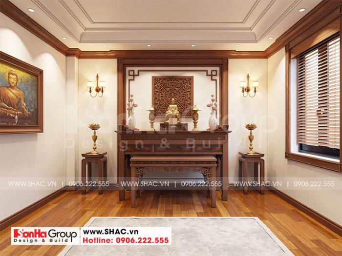 Thiết kế nội thất phòng thờ tôn nghiêm với gỗ mang đến sự bình yên